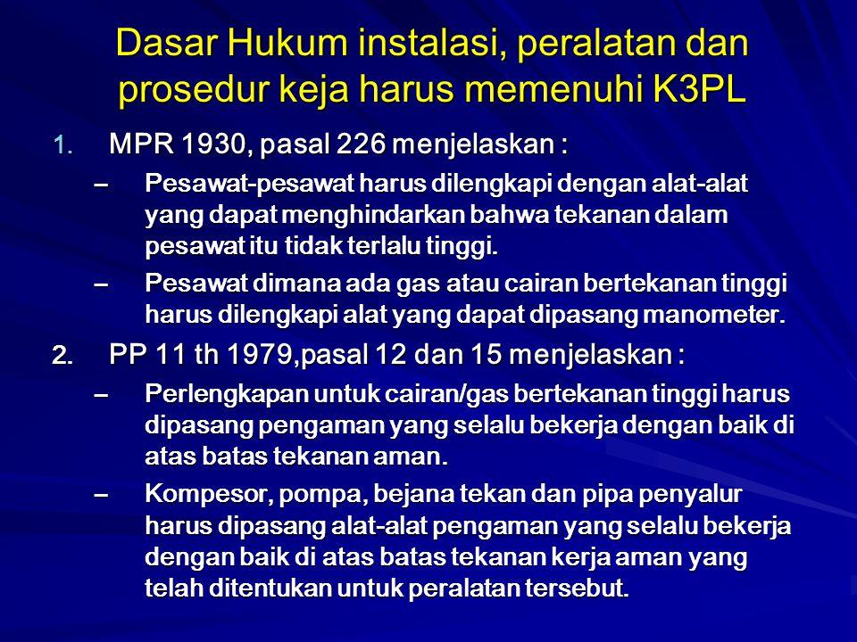 Dasar Hukum instalasi, peralatan dan prosedur keja harus memenuhi K3PL 1. MPR 1930, pasal 226 menjelaskan : –Pesawat-pesawat harus dilengkapi dengan a