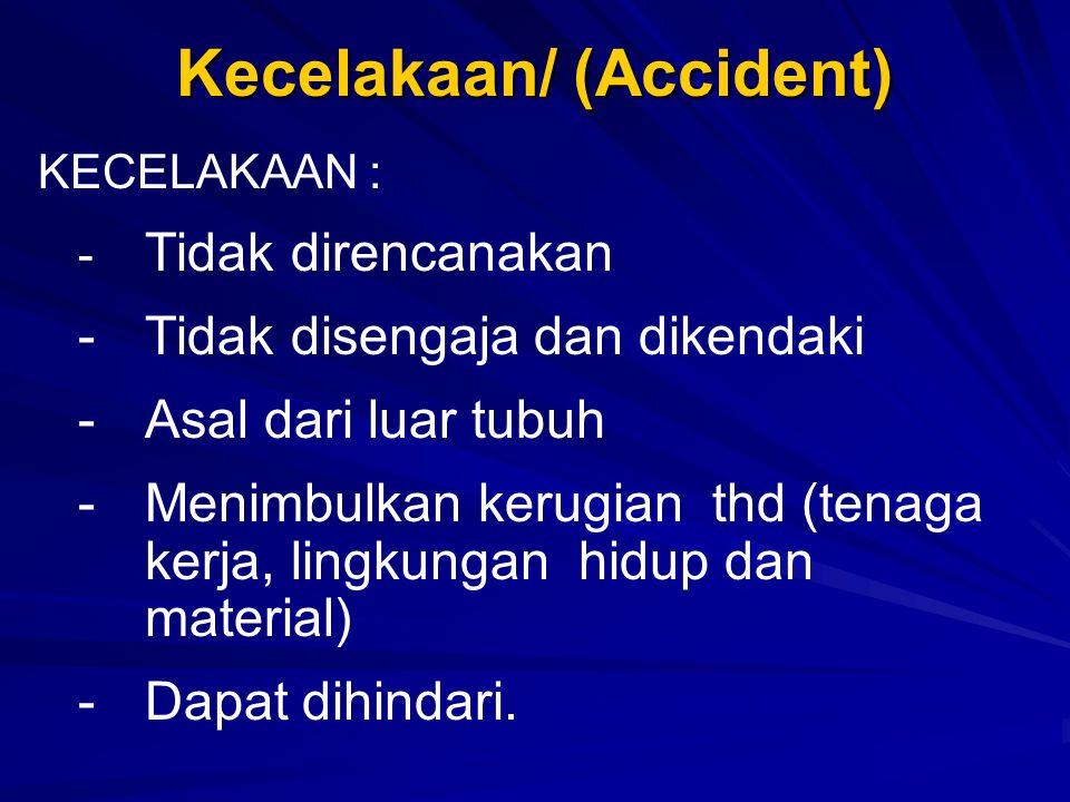 Kecelakaan/ (Accident) KECELAKAAN : - Tidak direncanakan -Tidak disengaja dan dikendaki -Asal dari luar tubuh -Menimbulkan kerugian thd (tenaga kerja,