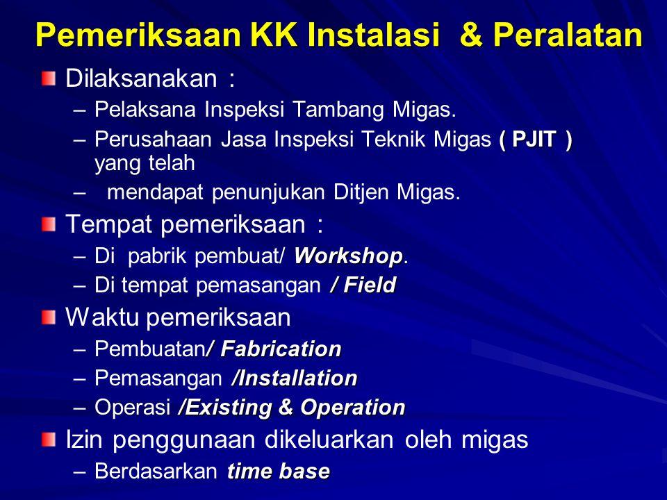 Pemeriksaan KK Instalasi & Peralatan Dilaksanakan : – –Pelaksana Inspeksi Tambang Migas. –( PJIT ) –Perusahaan Jasa Inspeksi Teknik Migas ( PJIT ) yan