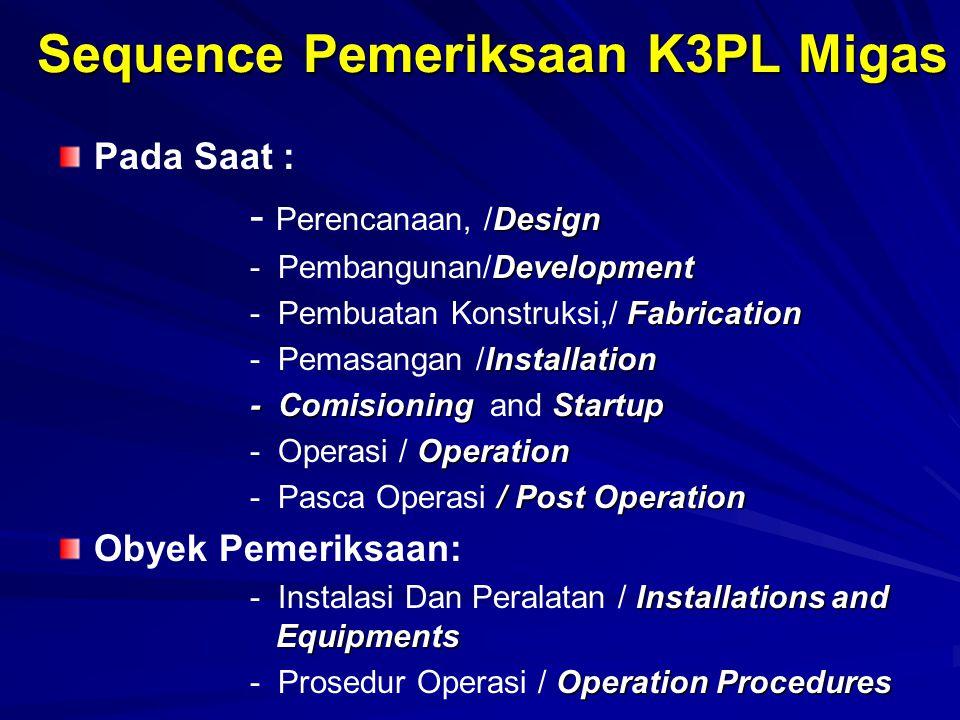 Sequence Pemeriksaan K3PL Migas Pada Saat : Design - Perencanaan, /Design Development - Pembangunan/Development Fabrication - Pembuatan Konstruksi,/ F