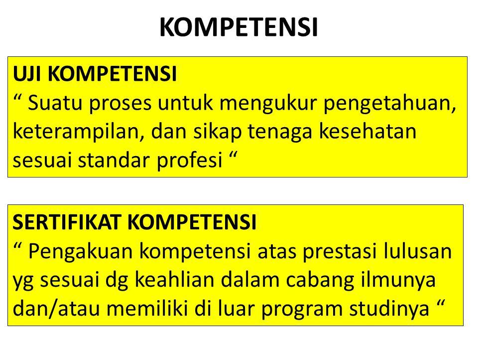 """KOMPETENSI SERTIFIKAT KOMPETENSI """" Pengakuan kompetensi atas prestasi lulusan yg sesuai dg keahlian dalam cabang ilmunya dan/atau memiliki di luar pro"""
