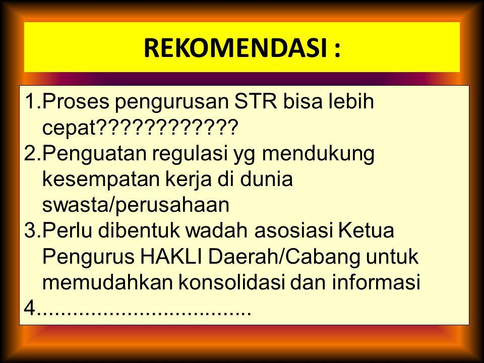 REKOMENDASI : 1.Proses pengurusan STR bisa lebih cepat???????????? 2.Penguatan regulasi yg mendukung kesempatan kerja di dunia swasta/perusahaan 3.Per