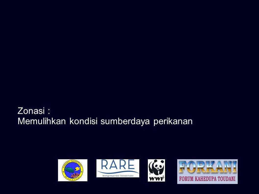 Zonasi : Suatu pembagian wilayah dalam sistem pengelolaan Taman Nasional untuk menjamin pemanfaatan berkelanjutan Zona Larang Tangkap : Zona Pariwisata, Zona Perlindungan Bahari dan Zona Inti Kondisi sumber daya perikanan di Zona Pemanfaatan Lokal sangat bergantung pada kondisi Zona Larang Tangkap Zona Pemanfaatan Lokal merupakan daerah tangkapan khusus bagi nelayan lokal