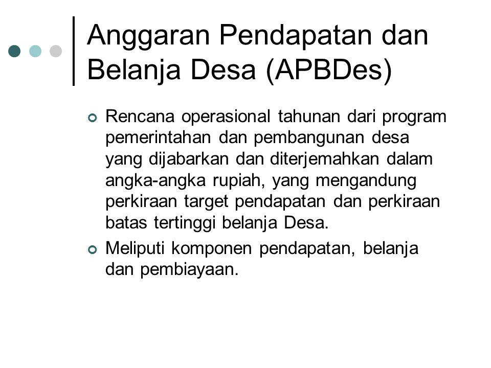 Anggaran Pendapatan dan Belanja Desa (APBDes) Rencana operasional tahunan dari program pemerintahan dan pembangunan desa yang dijabarkan dan diterjema