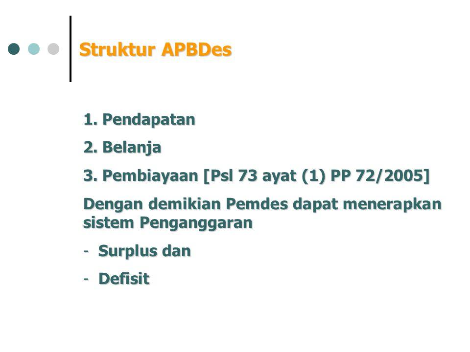 Struktur APBDes 1. Pendapatan 2. Belanja 3. Pembiayaan [Psl 73 ayat (1) PP 72/2005] Dengan demikian Pemdes dapat menerapkan sistem Penganggaran - Surp