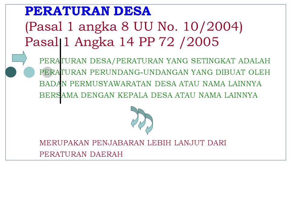 DALAM PEMERINTAHAN DAERAH KAB/KOTA DAPAT DIBENTUK PEMERINTAHAN DESA YANG TERDIRI DARI PEMERINTAH DESA DAN BADAN PERMUSYAWARATAN DESA Pasal 200 Ayat 1 UU No 32/2004  BADAN PERMUSYAWARATAN DESA BERFUNGSI : MENETAPKAN PERATURAN DESA BERSAMA KEPALA DESA.