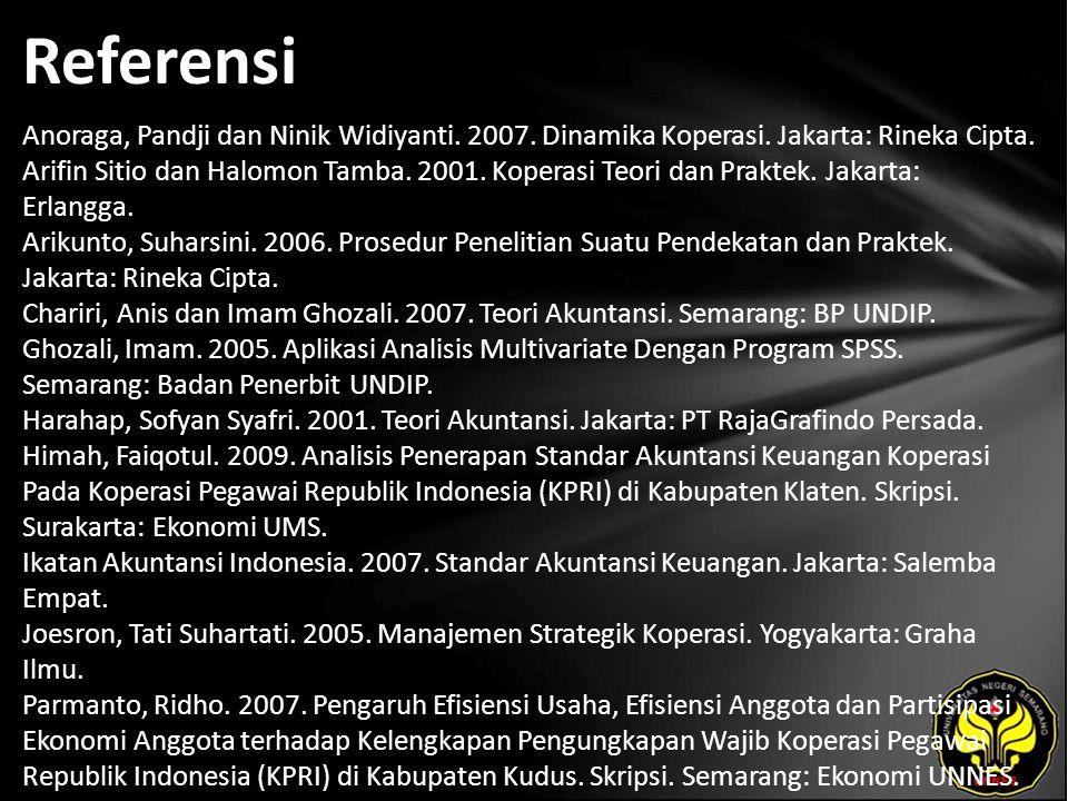 Referensi Anoraga, Pandji dan Ninik Widiyanti. 2007. Dinamika Koperasi. Jakarta: Rineka Cipta. Arifin Sitio dan Halomon Tamba. 2001. Koperasi Teori da