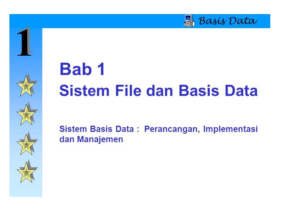 1 1 Basis Data Tinjauan Sistem File  Manajemen Data Sistem File  Sistem file memerlukan pemrograman dengan menggunakan bahasa genarasi ketiga (3GL)  Pengembangan sejumlah file, administrasi akan menjadi sulit.