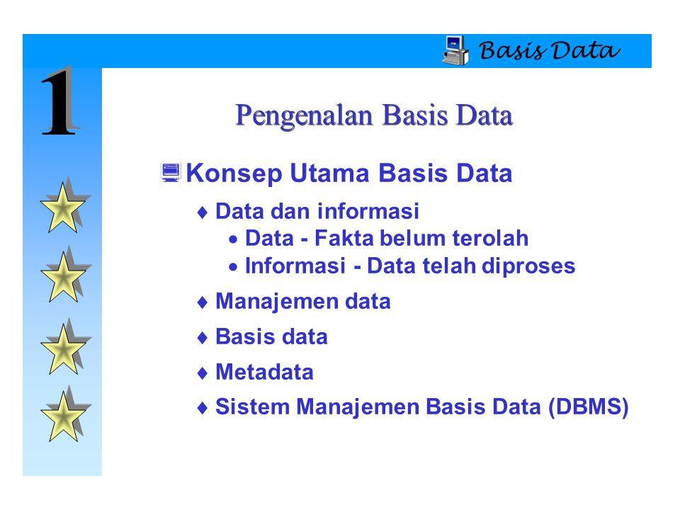 1 1 Basis Data Sistem Basis Data  Tipe Sistem Basis Data  Lokasi  Tersentralisasi  Tersebar  Kegunaan  Transaksi (Produksi)  Pendukung keputusan  Gudang data