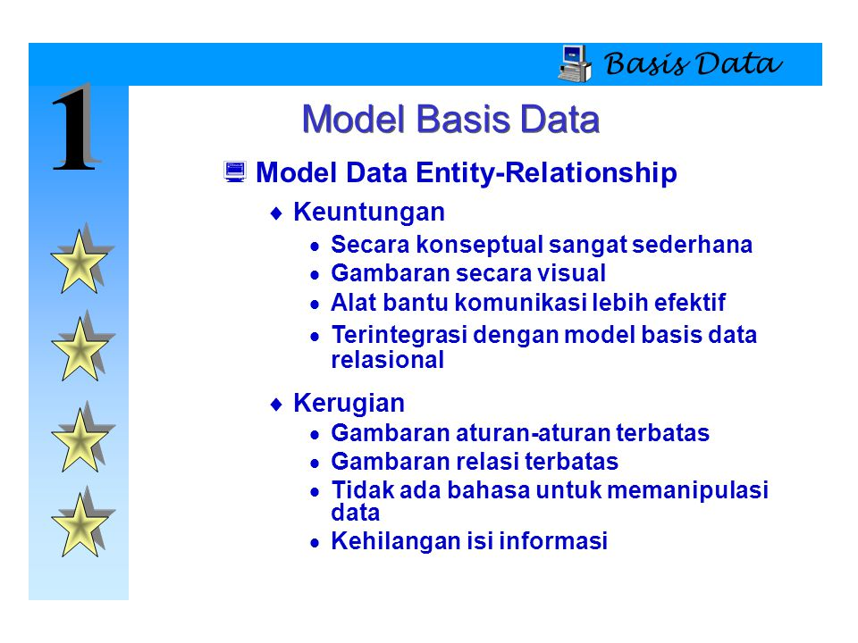 1 1 Basis Data Model Basis Data  Model Data Entity-Relationship  Keuntungan  Secara konseptual sangat sederhana  Gambaran secara visual  Alat ban