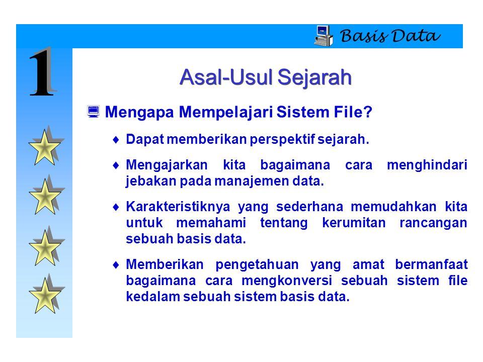 1 1 Basis Data Isi File PEGAWAI Nama = Nama pegawai Tgl_Lahir = Tanggal Lahir NIP = No.