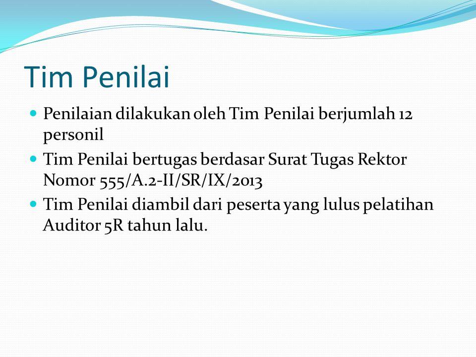 Tim Penilai Penilaian dilakukan oleh Tim Penilai berjumlah 12 personil Tim Penilai bertugas berdasar Surat Tugas Rektor Nomor 555/A.2-II/SR/IX/2013 Ti