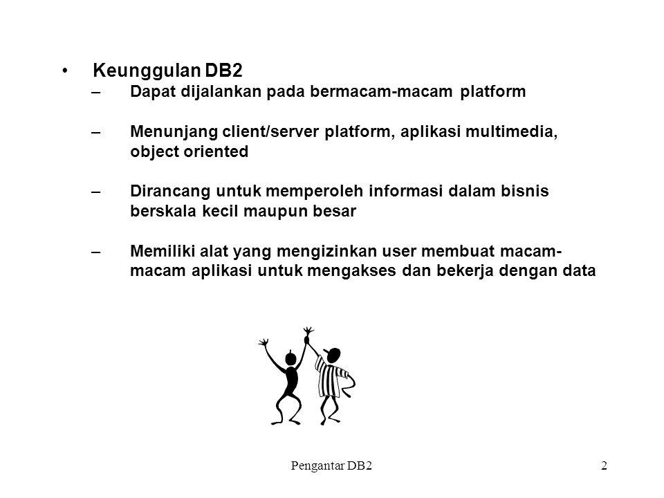 Pengantar DB22 Keunggulan DB2 –Dapat dijalankan pada bermacam-macam platform –Menunjang client/server platform, aplikasi multimedia, object oriented –