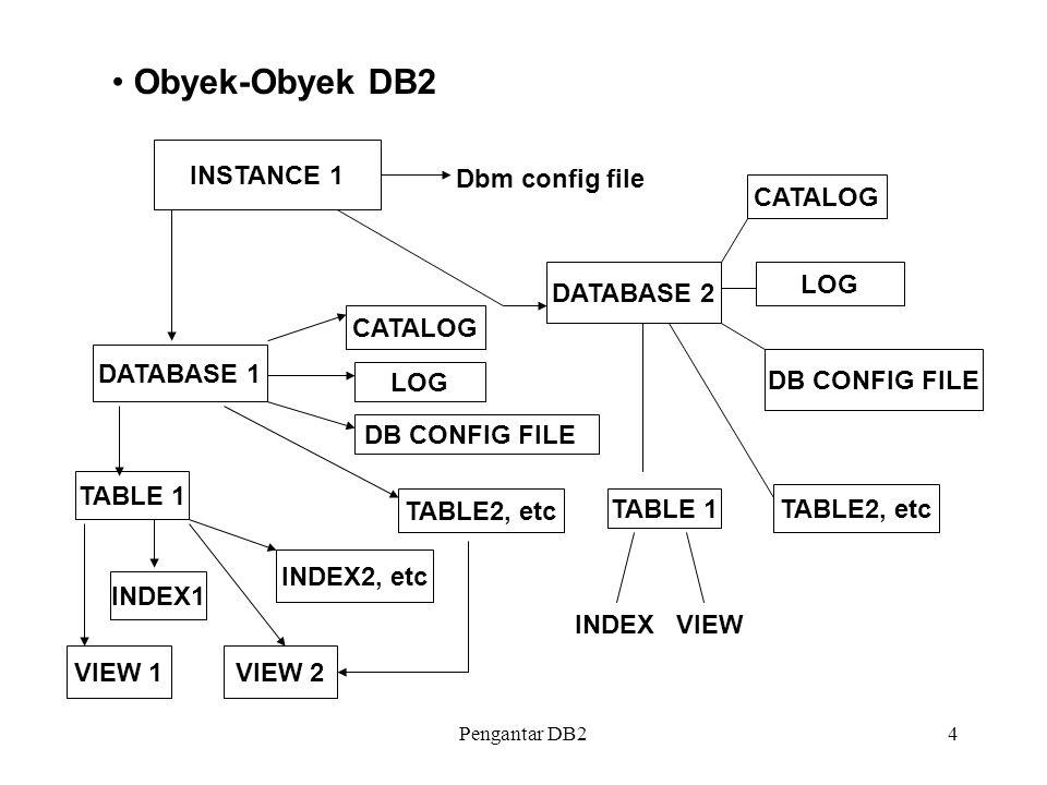 Pengantar DB25 Database Manager Instance Berisikan gambaran mengenai lingkungan manajer basis data sesungguhnya Catalog Terdiri dari sekumpulan tabel yang berisikan informasi mengenai seluruh obyek DB2 yang telah didefinisikan, informasi otorisasi, recovery.