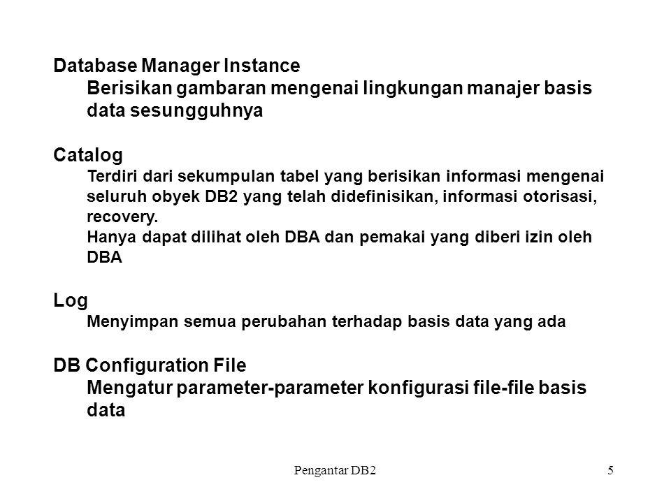 Pengantar DB25 Database Manager Instance Berisikan gambaran mengenai lingkungan manajer basis data sesungguhnya Catalog Terdiri dari sekumpulan tabel
