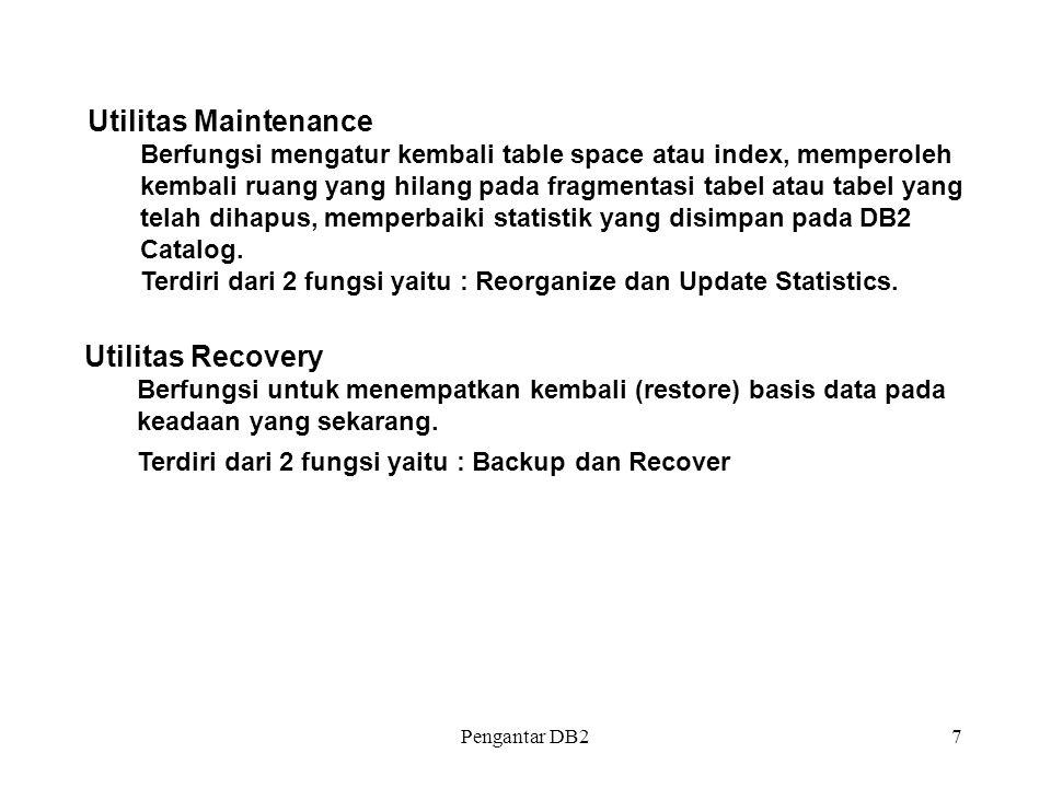 Pengantar DB27 Utilitas Recovery Berfungsi untuk menempatkan kembali (restore) basis data pada keadaan yang sekarang. Terdiri dari 2 fungsi yaitu : Ba
