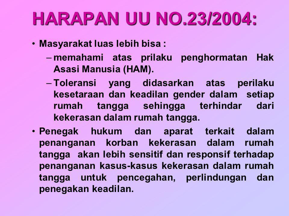 HARAPAN UU NO.23/2004: Masyarakat luas lebih bisa : –memahami atas prilaku penghormatan Hak Asasi Manusia (HAM). –Toleransi yang didasarkan atas peril