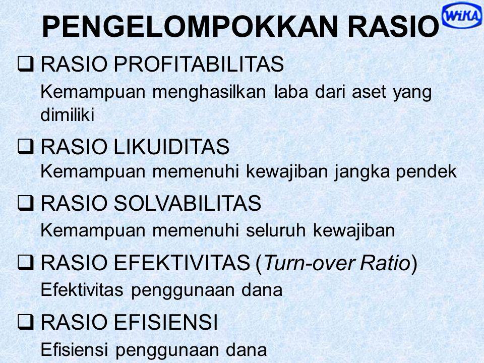  Angka Rasio adalah INDIKATOR  Bandingkan Rasio dengan Rencana / Standar, Pesaing dan Industri, selama beberapa periode  Cari SEBAB dari Penyimpang