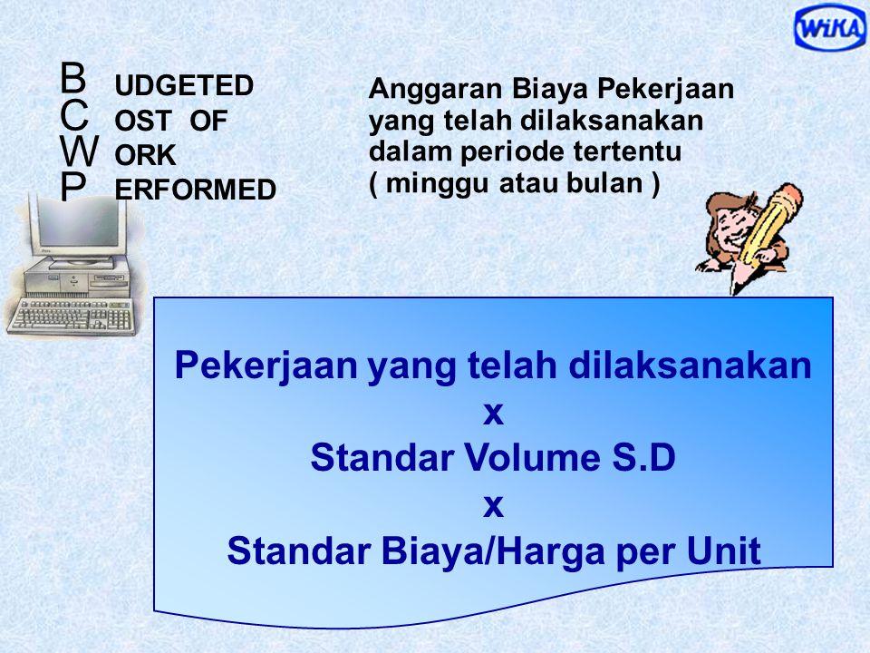 Anggaran Biaya Pekerjaan yang dijadwalkan untuk dilaksanakan dalam periode tertentu ( minggu atau bulan ) Pekerjaan yang dijadwalkan x Standar Volume