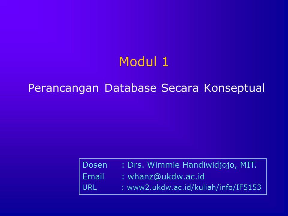 Modul 1 Perancangan Database Secara Konseptual Dosen: Drs. Wimmie Handiwidjojo, MIT. Email: whanz@ukdw.ac.id URL: www2.ukdw.ac.id/kuliah/info/IF5153