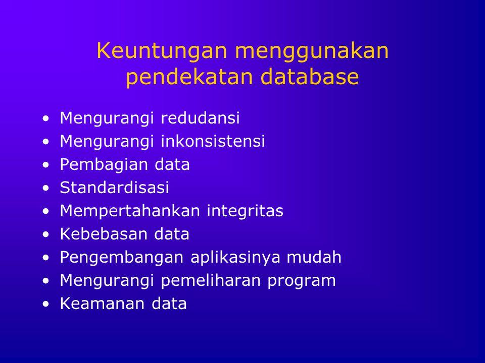 Keuntungan menggunakan pendekatan database Mengurangi redudansi Mengurangi inkonsistensi Pembagian data Standardisasi Mempertahankan integritas Kebeba
