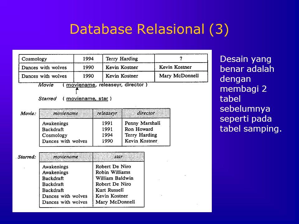 Database Relasional (3) Desain yang benar adalah dengan membagi 2 tabel sebelumnya seperti pada tabel samping.