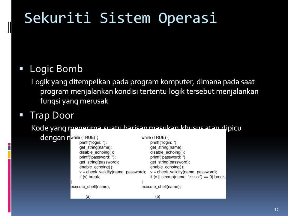 Sekuriti Sistem Operasi  Logic Bomb Logik yang ditempelkan pada program komputer, dimana pada saat program menjalankan kondisi tertentu logik tersebu