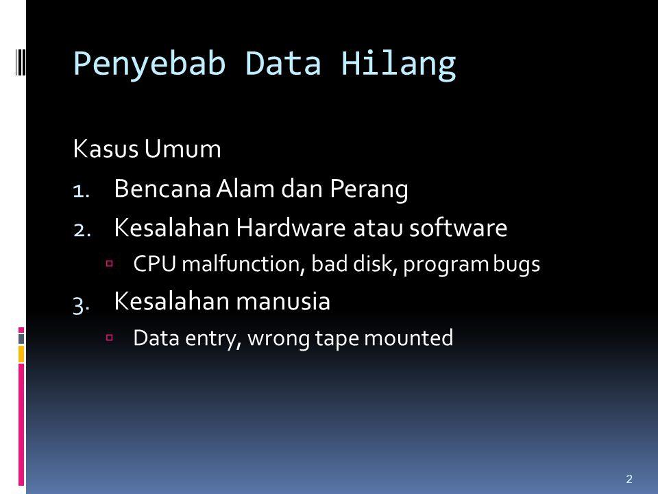Penyebab Data Hilang Kasus Umum 1. Bencana Alam dan Perang 2. Kesalahan Hardware atau software  CPU malfunction, bad disk, program bugs 3. Kesalahan