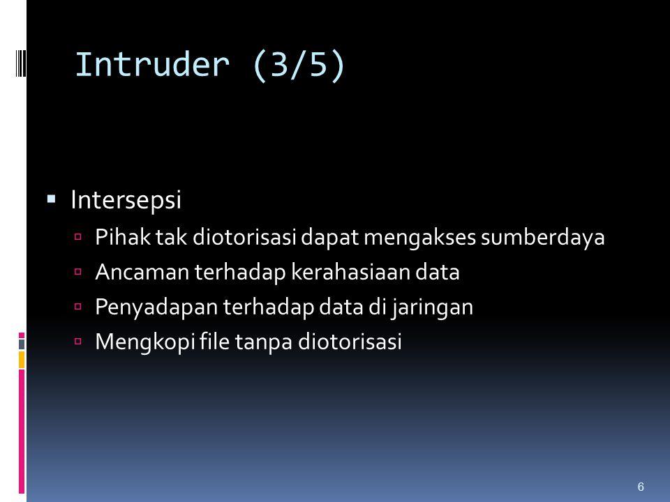 Intruder (3/5)  Intersepsi  Pihak tak diotorisasi dapat mengakses sumberdaya  Ancaman terhadap kerahasiaan data  Penyadapan terhadap data di jarin