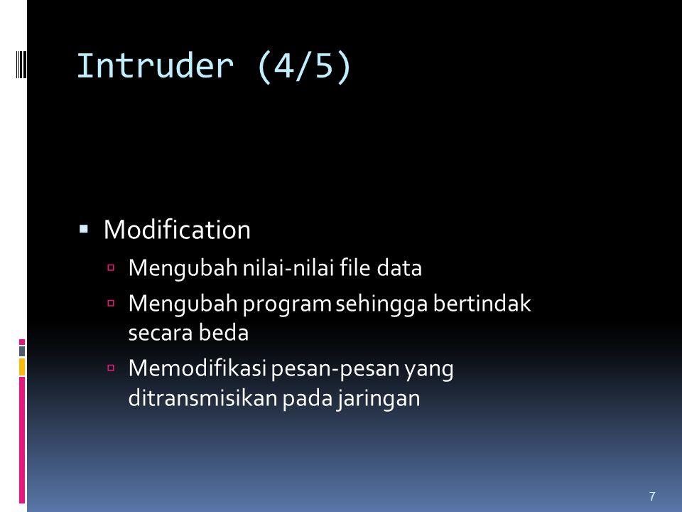 Intruder (4/5)  Modification  Mengubah nilai-nilai file data  Mengubah program sehingga bertindak secara beda  Memodifikasi pesan-pesan yang ditra
