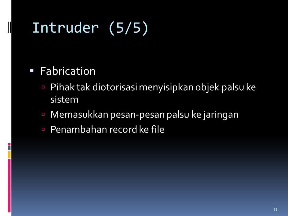 Intruder (5/5)  Fabrication  Pihak tak diotorisasi menyisipkan objek palsu ke sistem  Memasukkan pesan-pesan palsu ke jaringan  Penambahan record