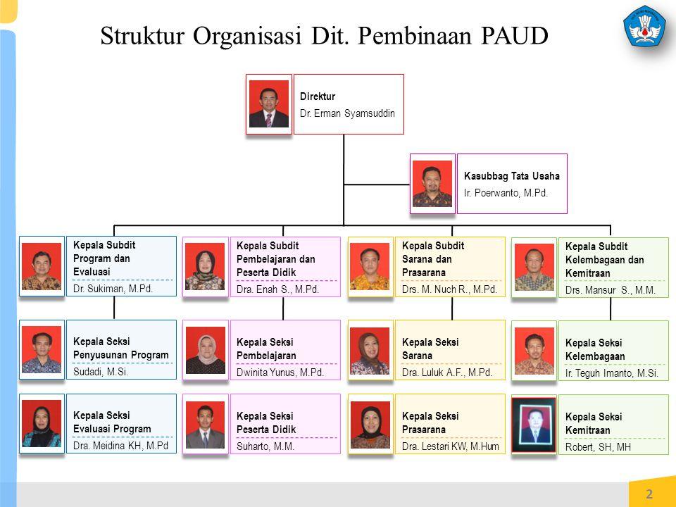 Struktur Organisasi Dit.Pembinaan PAUD 2 Kepala Subdit Program dan Evaluasi Dr.