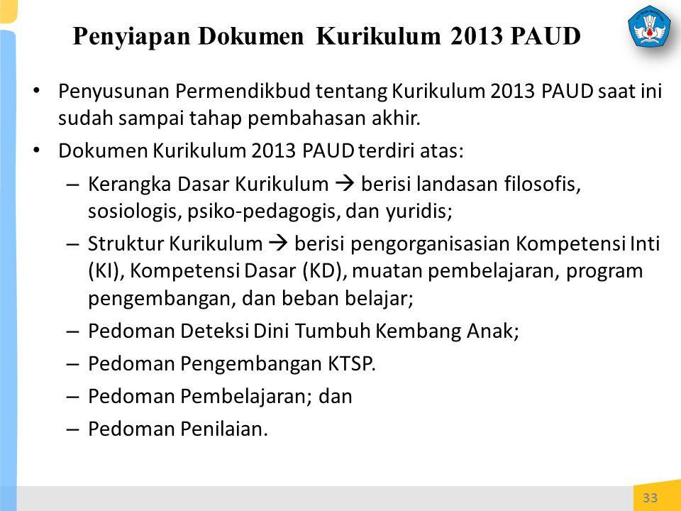 Penyiapan Dokumen Kurikulum 2013 PAUD Penyusunan Permendikbud tentang Kurikulum 2013 PAUD saat ini sudah sampai tahap pembahasan akhir.