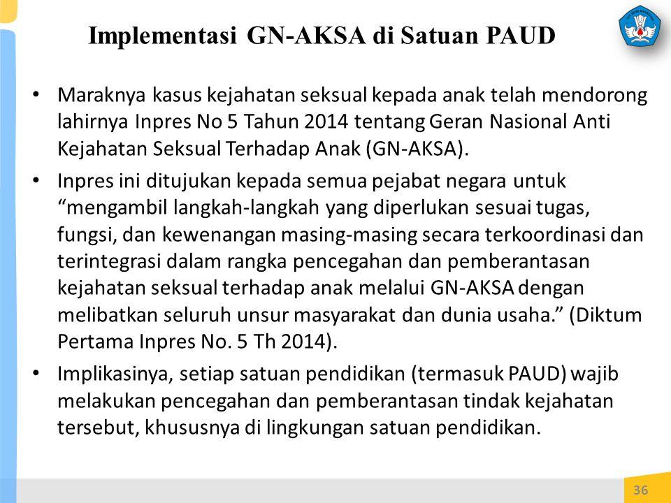 Implementasi GN-AKSA di Satuan PAUD Maraknya kasus kejahatan seksual kepada anak telah mendorong lahirnya Inpres No 5 Tahun 2014 tentang Geran Nasional Anti Kejahatan Seksual Terhadap Anak (GN-AKSA).