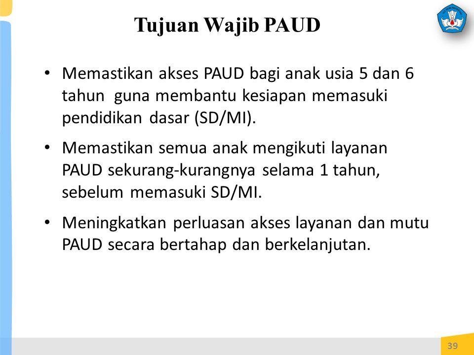 Tujuan Wajib PAUD Memastikan akses PAUD bagi anak usia 5 dan 6 tahun guna membantu kesiapan memasuki pendidikan dasar (SD/MI).