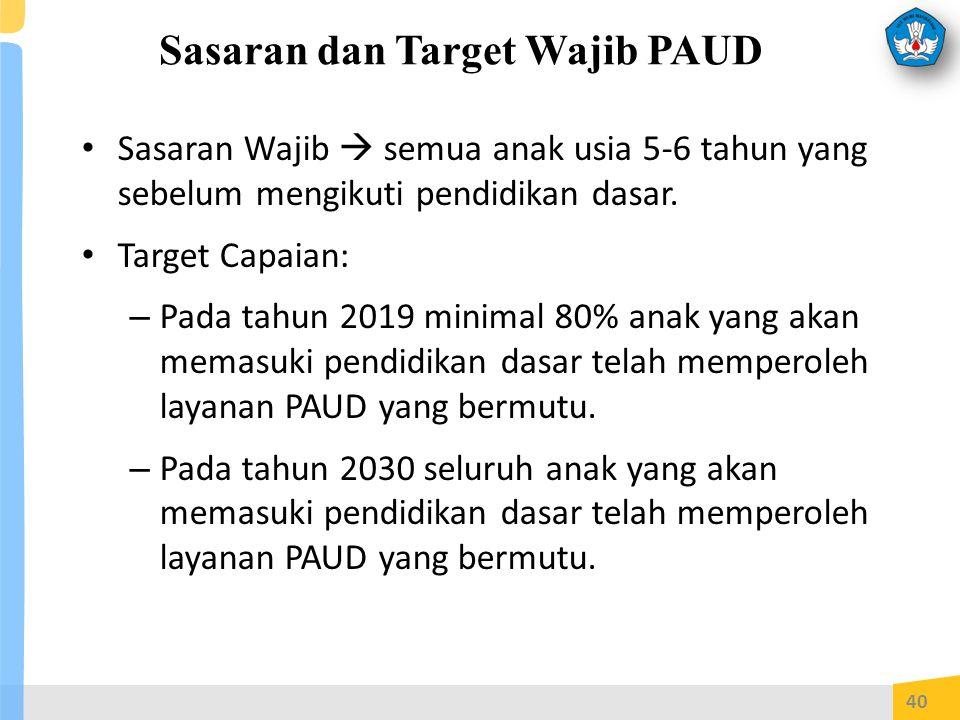 Sasaran dan Target Wajib PAUD Sasaran Wajib  semua anak usia 5-6 tahun yang sebelum mengikuti pendidikan dasar.