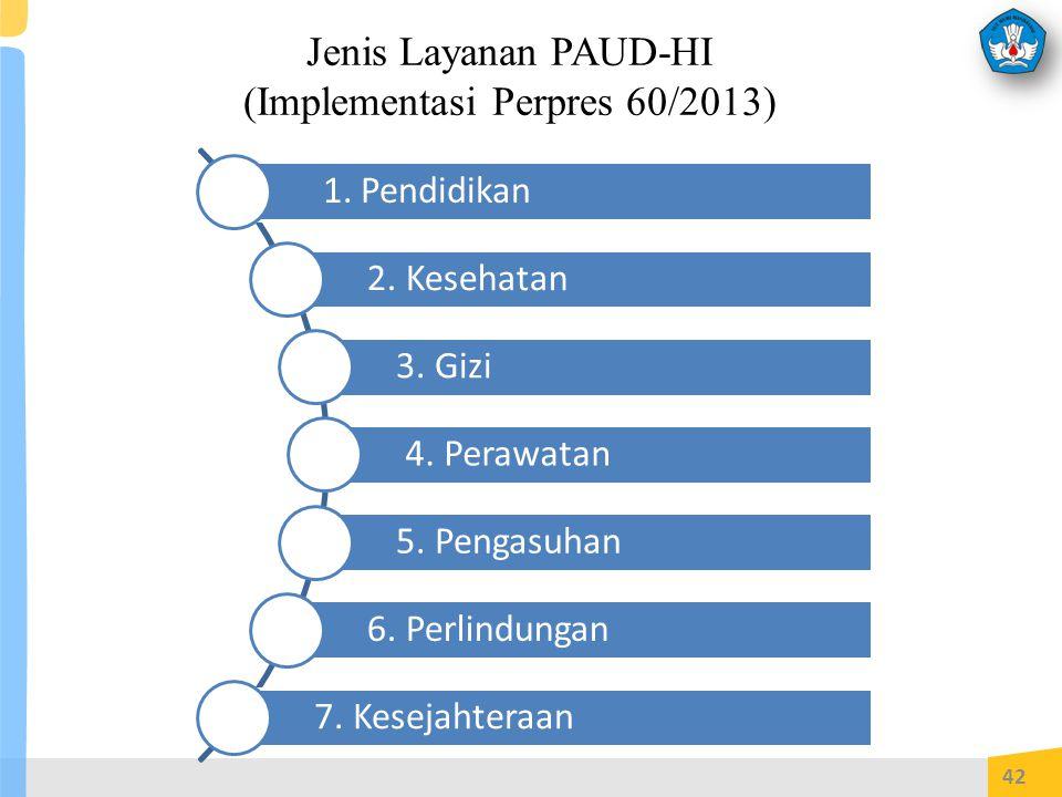 Jenis Layanan PAUD-HI (Implementasi Perpres 60/2013) 42 1.