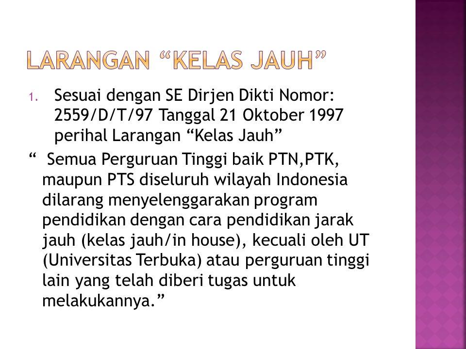 """1. Sesuai dengan SE Dirjen Dikti Nomor: 2559/D/T/97 Tanggal 21 Oktober 1997 perihal Larangan """"Kelas Jauh"""" """" Semua Perguruan Tinggi baik PTN,PTK, maupu"""