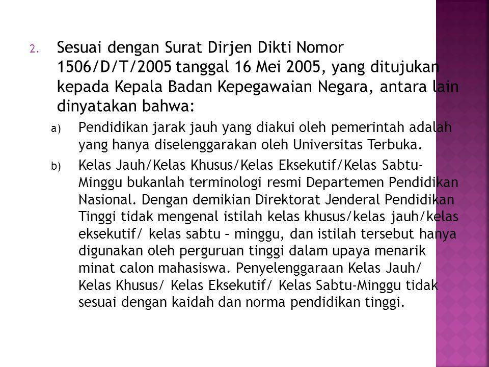2. Sesuai dengan Surat Dirjen Dikti Nomor 1506/D/T/2005 tanggal 16 Mei 2005, yang ditujukan kepada Kepala Badan Kepegawaian Negara, antara lain dinyat