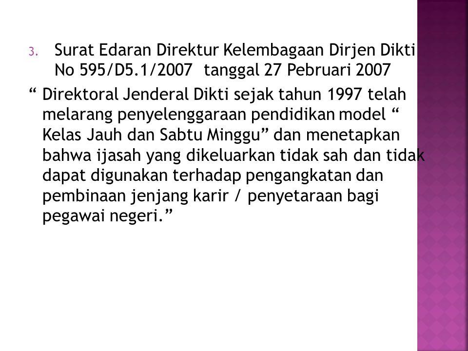"3. Surat Edaran Direktur Kelembagaan Dirjen Dikti No 595/D5.1/2007 tanggal 27 Pebruari 2007 "" Direktoral Jenderal Dikti sejak tahun 1997 telah melaran"