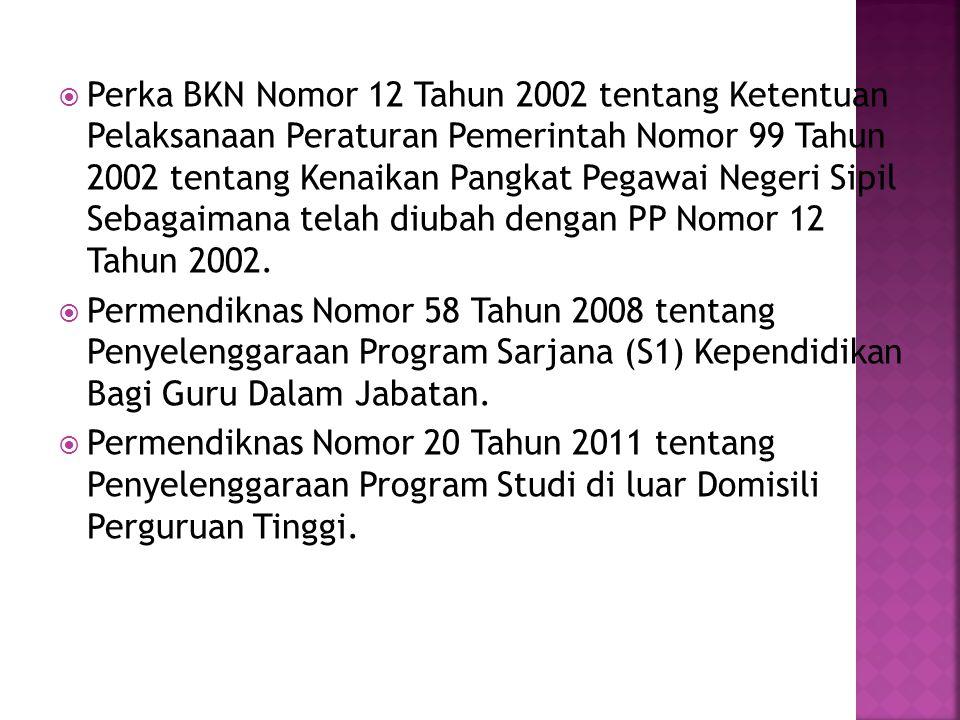  Perka BKN Nomor 12 Tahun 2002 tentang Ketentuan Pelaksanaan Peraturan Pemerintah Nomor 99 Tahun 2002 tentang Kenaikan Pangkat Pegawai Negeri Sipil Sebagaimana telah diubah dengan PP Nomor 12 Tahun 2002.