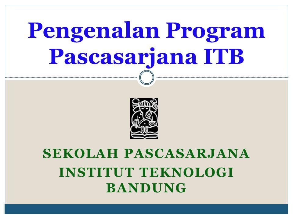SEKOLAH PASCASARJANA INSTITUT TEKNOLOGI BANDUNG Pengenalan Program Pascasarjana ITB