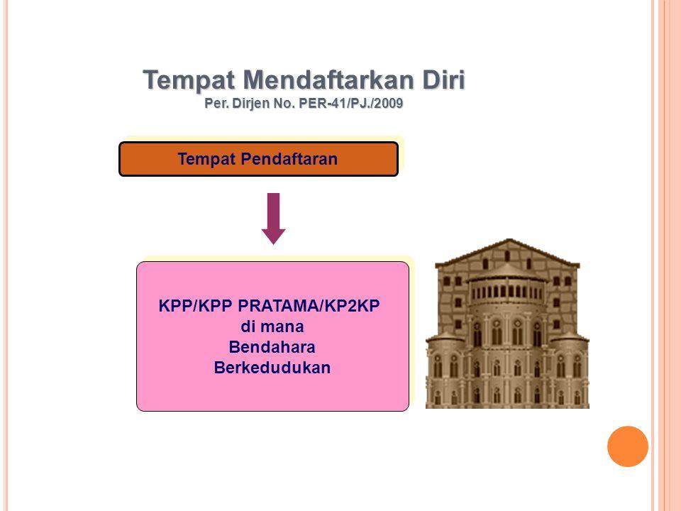 Tempat Mendaftarkan Diri Per. Dirjen No. PER-41/PJ./2009 Tempat Pendaftaran KPP/KPP PRATAMA/KP2KP di mana Bendahara Berkedudukan KPP/KPP PRATAMA/KP2KP