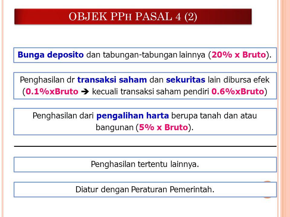 OBJEK PP H PASAL 4 (2) Bunga deposito dan tabungan-tabungan lainnya (20% x Bruto). Penghasilan dr transaksi saham dan sekuritas lain dibursa efek (0.1