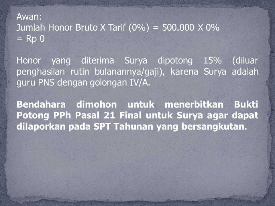 Awan: Jumlah Honor Bruto X Tarif (0%) = 500.000 X 0% = Rp 0 Honor yang diterima Surya dipotong 15% (diluar penghasilan rutin bulanannya/gaji), karena
