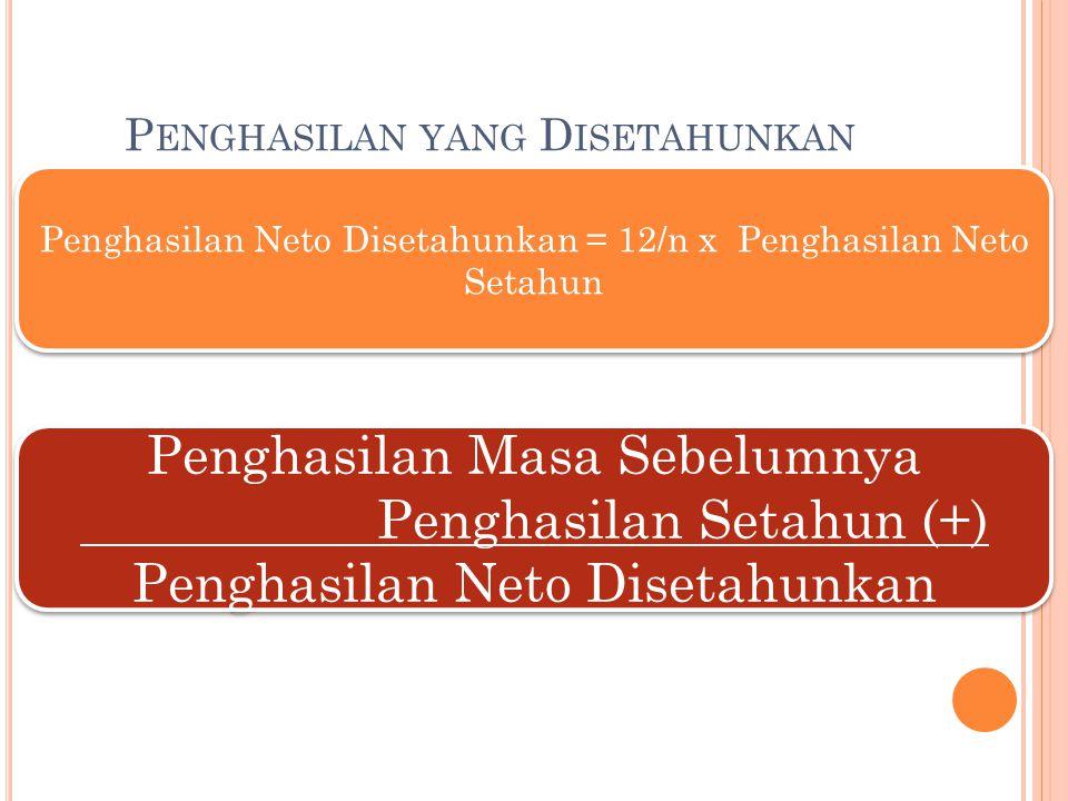 P ENGHASILAN YANG D ISETAHUNKAN Penghasilan Neto Disetahunkan = 12/n x Penghasilan Neto Setahun Penghasilan Masa Sebelumnya Penghasilan Setahun (+) Pe