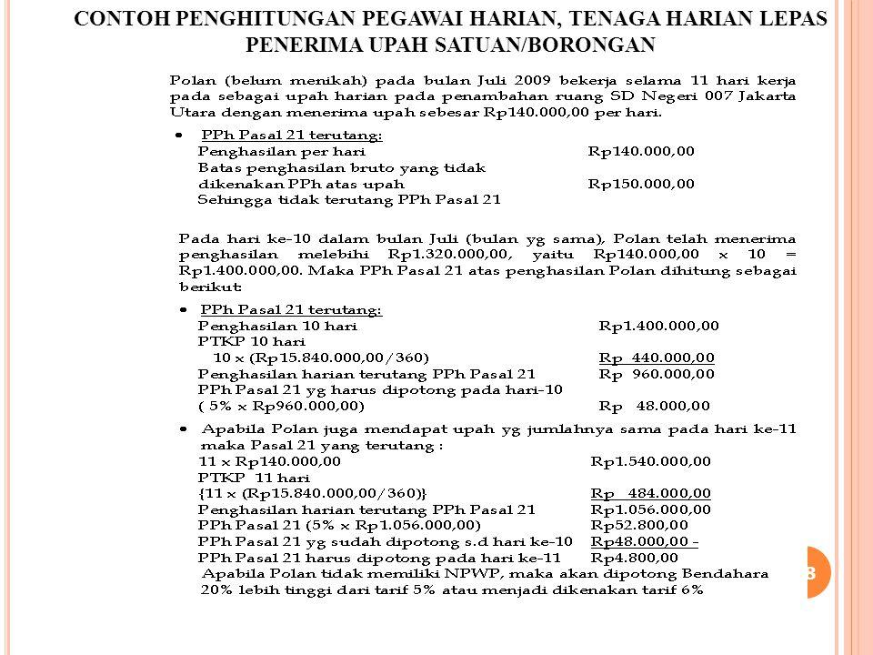 38 CONTOH PENGHITUNGAN PEGAWAI HARIAN, TENAGA HARIAN LEPAS PENERIMA UPAH SATUAN/BORONGAN