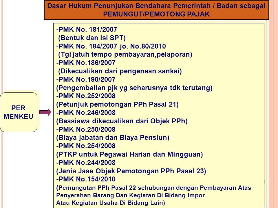 5 Dasar Hukum Penunjukan Bendahara Pemerintah / Badan sebagai PEMUNGUT/PEMOTONG PAJAK PER MENKEU PER MENKEU -PMK No. 181/2007 (Bentuk dan Isi SPT) -PM