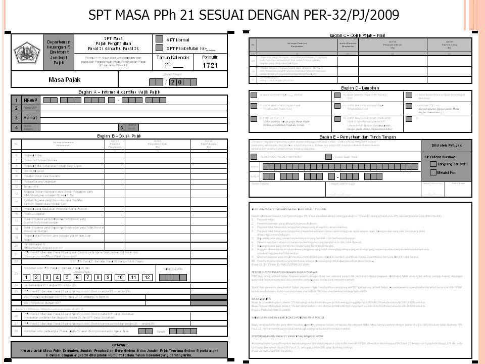 SPT MASA PPh 21 SESUAI DENGAN PER-32/PJ/2009