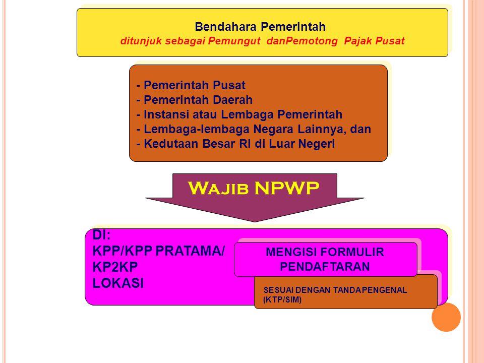 Kewajiban Mendaftarkan Diri Pasal 2 ayat (1) UU KUP Bendahara yang Mengelola APBN/APBD Bendahara yang Mengelola APBN/APBD Wajib Mendaftarkan Diri Wajib Mendaftarkan Diri Untuk Mendapatkan NPWP